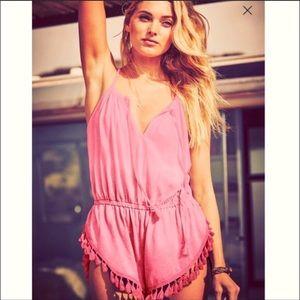 Victoria's Secret Tassel Cover Up Romper Hot Pink